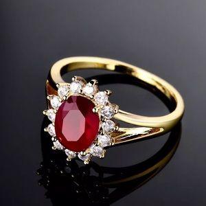 Jewelry - Yellow Gold Filled Red Ruby & Diamond Ring